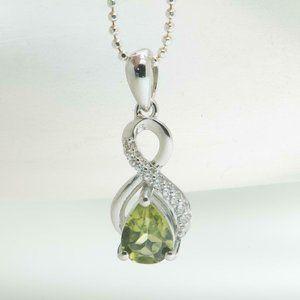 Jewelry - Natural Peridot & White Sapphire Pendant